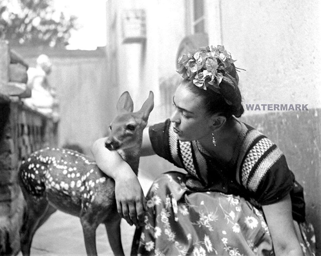 Frida Kahlo with pet deer